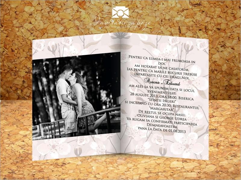 Invitatie De Nunta Cu Poze Flori De Cires Invitatii Cu Poze