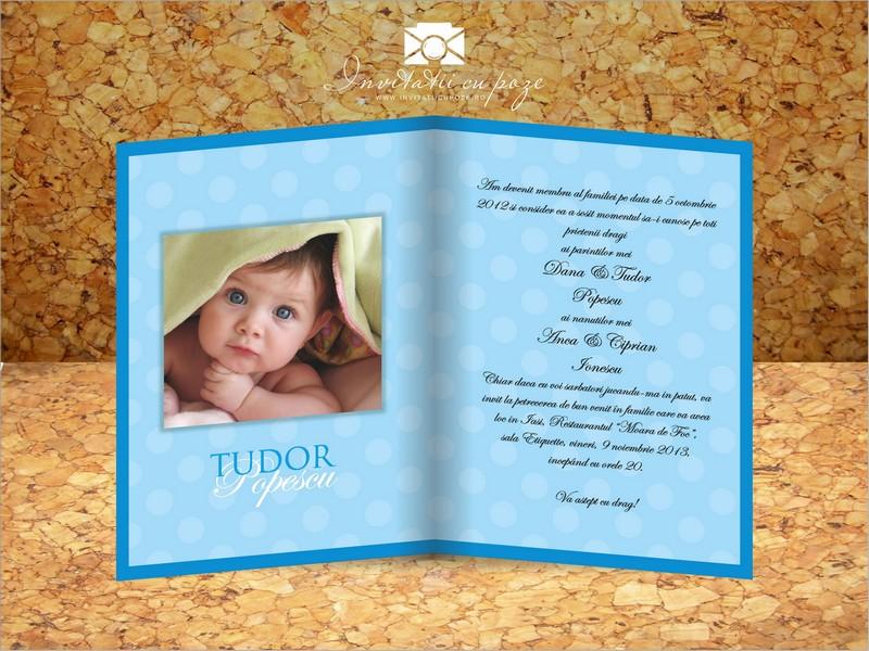 Invitatie De Botez Cu Pozele Copilului Model Happy Bubbles Baieti