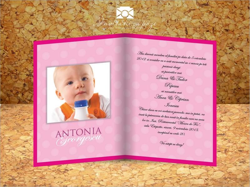 Invitatie De Botez Cu Pozele Copilului Model Happy Bubbles Fetite