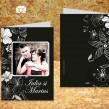 Invitatie de nunta cu poze neagra cu flori albe